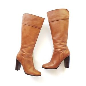 Halogen Brianna Heeled Brown Leather Boots Size 7